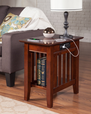 Atlantic Furniture - Mission Chairside Charging End Table